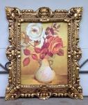 Gemälde Blumen mit Vase Bild Bilder 45x38 Kunstdruck Bild Wandbild Barock Rahmen