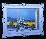 Gemälde Landschaftsbild 90x70 Blumen Bild gerahmte Gemälde Wandbild B16