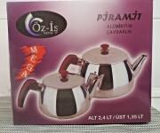 Teekanne 2er Set Aus Aluminium extra leicht Teekocher Caydanlik Kugelförmig Groß