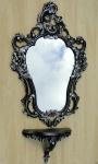 Wandkonsole mit Wandspiegel Schwarz Silber 50x76 Wandablage Barock Badspiegel