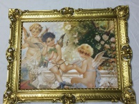 Schutzengel Bild Gemälde Engelbild 70x90 Antik Barock Rechteckig Engel Gerahmt