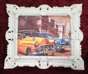 Auto Cuba Bild Rahmen Cuban Car Gelb Wandbild 45x38 Oldtimer Kuba Classic Auto