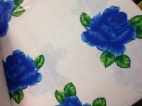 Bettwäsche 3 tlg 100%Baumwolle Ranforce 160x220 Renforce Rosen Blau Blumenmuster