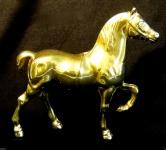 Pferde Figur Messing Pferdefigur Tierfigur 14x15cm Tisch Vitrinen Deko