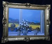 Gemälde Landschaftsbild 90x70 Blumen Bild gerahmte Gemälde B16 Wandbild