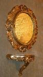 Wandspiegel Gold Oval mit Wandkonsole Antik GOLD 45x38 Rahmen Badspiegel Oval