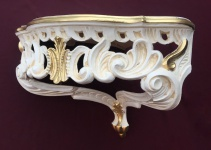 Wandkonsole Antik Weiß Gold barok Eckregal 38x35x29 Wandspiegel Eck konsole cp75