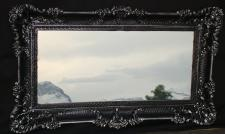 Wandspiegel Barock Antik DEKO Badspiegel, Schwarz-Silber 97x57, NEU 103074