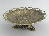 Schale metall mit Fuß Antik Obstschale -Deko Schale in Messing-Look 25cm Ablage