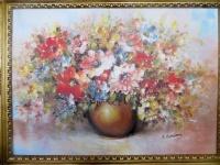 Blumen Bilder 50x70 Wilde Blumen mit Vase Gol Bild auf MDF Platte Wandbild 98