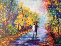 Romantisches Bild Herbst Landschaften 50x70 Wandbild auf MDF Bäume Blätter