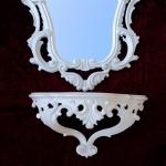 ANTIK Wandspiegel mit WANDKONSOLE Spiegel 50X76 ANTIK BAROCK Spiegelablage weiß