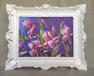 Gemälde Blumen Lila Wandbild 57x47 Blumen Bild mit Rahmen Weiß 06