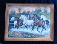 Bild mit Holz Rahmen Pferde Gemälde 36x46 Tiere Bilder Kunstdruck