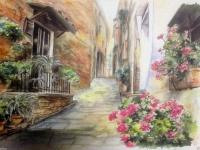 Gemälde Romantik-Dorf Balkon mit Blumen 50x35 Landschafts mit MDF Platte
