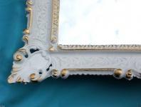 Wandspiegel Barock Shabby Chic, Badezimmerspiegel Weiß-Gold Jugendstil 57x47
