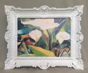 Bild mit Rahmen Blumen Weiße Calla Wandbild 57x47 Gerahmte Gemälde Weiß 07