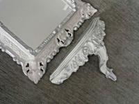 Wandspiegel mit Wandkonsole Weiß Silber Barock 45x37 Spiegel mit Konsole Vintage