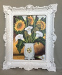 Bild mit Rahmen Sonnenblumen Calla in Vase Wandbild 57x47Gemälde Blumen 09