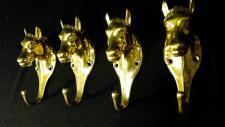 4x Wand- Kleiderhaken Haken MESSING Pferdekopf Gold Antik Garderobenhaken groß