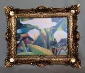 Bild mit Rahmen Blumen Weiße Calla Wandbild 57x47 Gerahmte Gemälde Gold 07