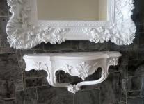 Wandspiegel Weiß mit Wandkonsole Barock Rechteckig Antik Badspiegel 96x57 Deko