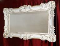 Wandspiegel Barock Weiß-Gold Spiegel Antik 96x57 mit ornamenten Badspiegel -206
