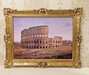 Bild Gemälde Italien ROM Kolosseum 90x70 Wandbild Die Stadt Rom Bild mit Rahmen