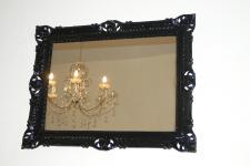 Wandspiegel 90x70 Spiegel BAROCK Badspiegel Rechteckig Antik REG 3057 Schwarz 1