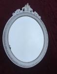 Wandspiegel Weiß Silber Barock Antik Bad Spiegel Oval 51X37 Mirror Retro c13