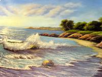 Landschafts Bild Gemälde Meer blick Welle Landschaftsbild Strand 50x70 See L8