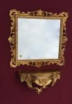 Wandspiegel mit Konsole Barock Gold mit Glas 38x36 Antik Badspiegel Ablage C533