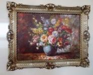 Gerahmte Gemälde Blumen Bild 90x70 Blumen mit Vase Blau Bild mit Rahmen 01-04
