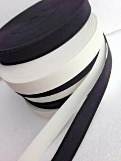 10 Meter Gummikordel Gummiband Hosengummi Gummilitze 25 mm Weiß-Schwarz kochfest - Vorschau 3