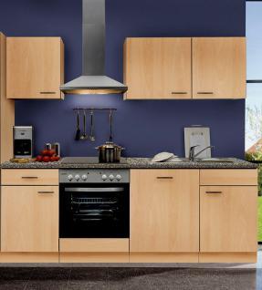 Küchenzeile MANKAPORTABLE 15 Küche 220cm Küchenblock in Buche m. allen E-Geräten