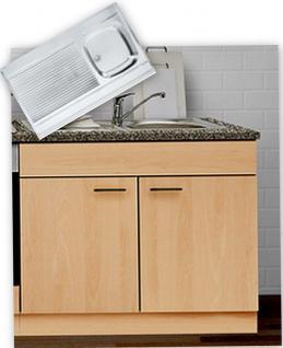 Spülenunterschrank mit Auflagespüle + Armatur MANKAPORTABLE Buche 100x60cm Spüle