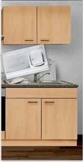 Spülenunterschrank m.Auflagespüle/Armatur+Hängeschrank MANKAPORTABLE Buche 100cm