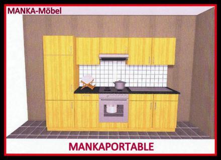 Küchenzeile MANKAPORTABLE 4 Küche 270cm Küchenblock in Buche mit E-Geräten