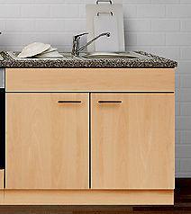 Spülenunterschrank mit APL u. Einbauspüle MANKAPORTABLE Buche 100x60cm Küche
