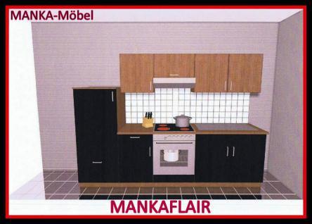 Küchenzeile MANKAFLAIR 2 Küche 270cm Küchenblock HochglanzSchwarz/Kirsch m.Gerät - Vorschau 1