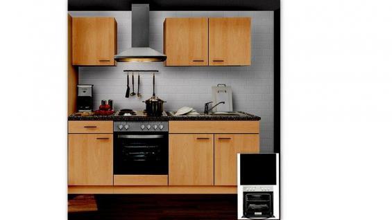 Küchenzeile MANKAPORTABLE 10 Küche 210cm Küchenblock in Buche m.E-Geräte u.Spüle