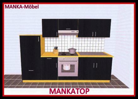Küchenzeile MANKATOP 1 Küche 270cm Küchenblock HochglanzSchwarz / Buche m.Geräte - Vorschau 1