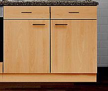 Unterschrank mit APL und Hängeschrank MANKAPORTABLE Buche 100cm breit Küche