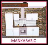 Küchenzeile MANKABASIC 2 Küche 270cm Küchenblock Vanille/Sonoma Eiche m.E-Geräte