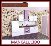 Küchenzeile MANKALUCIDO 1 Küche 270cm Küchenblock HochglanzWeiss/Kirsch m.Geräte