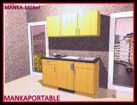 Küchenzeile MANKAPORTABLE 7 Küche 150cm Küchenblock Buche Singleküche m.E-Geräte