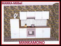 Küchenzeile MANKAMONO 2 Küche 270cm Küchenblock Weiss/Kirschbaum mit E-Geräte