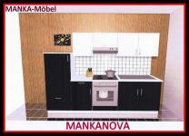 Küchenzeile MANKANOVA 3 Küche 270cm Küchenblock Hochglanz-Schwarz+Weiß o.Geräte