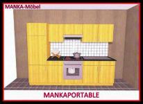 Küchenzeile MANKAPORTABLE 5 Küche 270cm Küchenblock in Buche mit E-Geräten