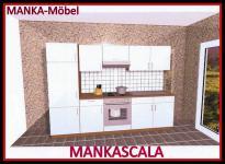 Küchenzeile MANKASCALA 3 Küche 270cm Küchenblock HochglanzWeiss/Eiche o.Geräte
